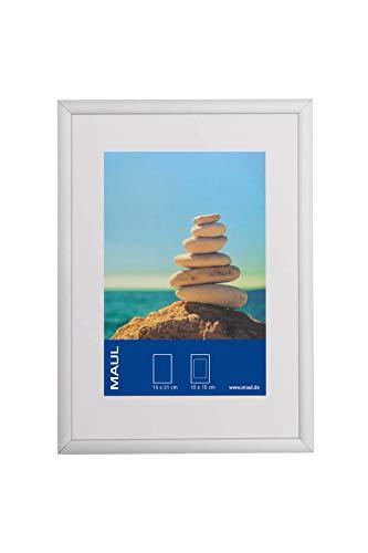 Bilderrahmen Aluminium, Hoch- oder Querformat, mit Passepartouteinleger, Aufstellbarer Wechselrahmen, Kunststoffglas, Fotorahmen 15x21 cm