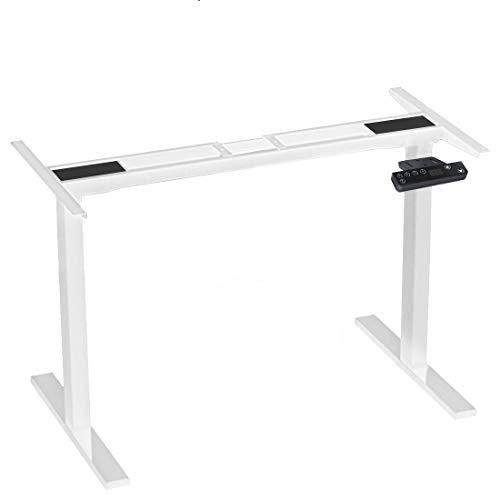 DCHOUSE Elektrisch höhenverstellbarer Schreibtisch Ergonomischer Steh-Sitz Tisch, 2-Fach-Teleskop, mit Zwei Motoren/Kollisionschutz/Memory Funktion (Weiß)