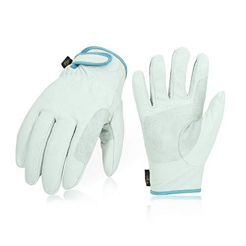 Vgo 3双入 豚革手袋 作業皮手袋 掌当て付 リーガ手袋 耐摩耗 背抜き(Size L,White,PA7136)