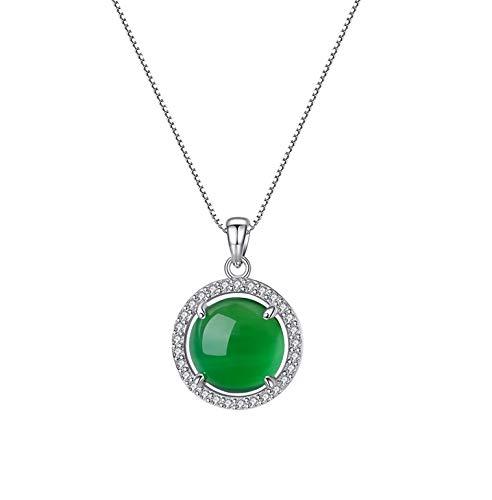 HLMAX Colgante De Calcedonia Verde Collar De Plata De Ley 925 con Embalaje De Regalo Elegante Regalo para Mamá Amor Y Mujeres,Necklace
