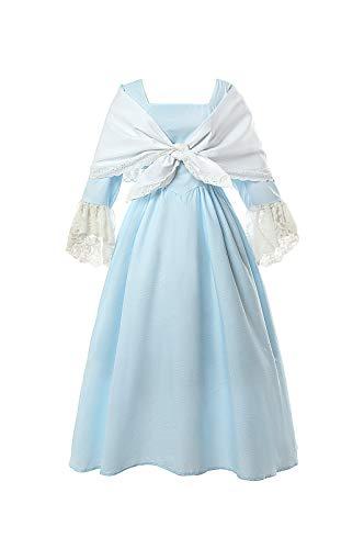 ROLECOS Pioneer Vestido colonial da Prairie Guerra Civil com xale para mulheres, Azul claro, XXG