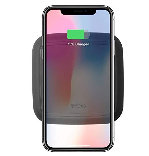 ZENS Wireless Charger (15W) mit Netzteil für z.B. Apple iPhone X / 8 / 8 Plus, Samsung Galaxy S8 / S8+, uvm. [Qi zertifiziert I Apple & Samsung Fast Charge I Abschaltautomatik] - schwarz (ZESC08BA/00)