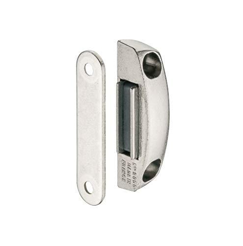 Gedotec Metall Magnetverschluss mit Gegenplatte eckig Möbelmagnet Tür Magnetschnapper zum Schrauben | Türmagnet vernickelt mit Haftkraft 4,0 kg | Möbelbeschläge | 1 Stück
