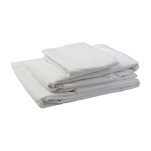 DMI Hospital Bed Sheet Set with Fitted Sheet, Top Sheet and Pillow Case, 132 Thread Count, 36 x 80 x 6 inches, White