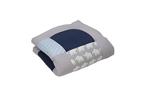 Alfombra para gatear de ULLENBOOM ® con elefantes azul verde (manta para bebé de 80x80 cm; ideal como colcha para el cochecito; apta como alfombra de juegos)
