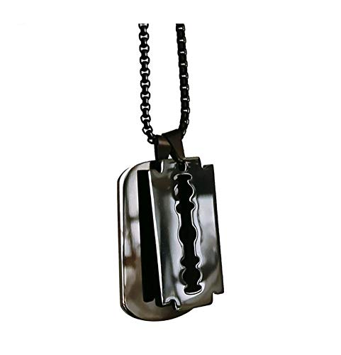Accesorios 100% de Acero Inoxidable Doble Dogtag Colgante Collar for los Hombres en Blanco Placa Soldado Militar Collar Espejo Regalo (Metal Color : Black Blade Tag)