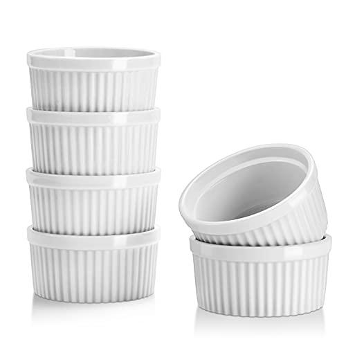Yedio Ramekins, 4 Ounces Porcelain Souffle Dishes Set for Baking, Souffle Ramekins for Desert, Pudding. Set of 6, White, Oven Safe
