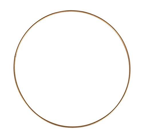 Rayher 2505206 Metallring, gold beschichtet, 20 cm ø, Stärke ca. 3 mm, Drahtring zum Basteln, für Wickeltechnik, Traumfänger Ring, Makramee Ring, Floristik