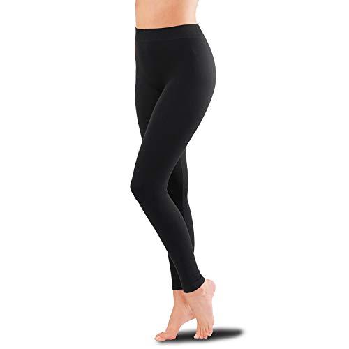ciscoo Thermo-leggings voor dames, zwart, warme katoenen leggings enkellang