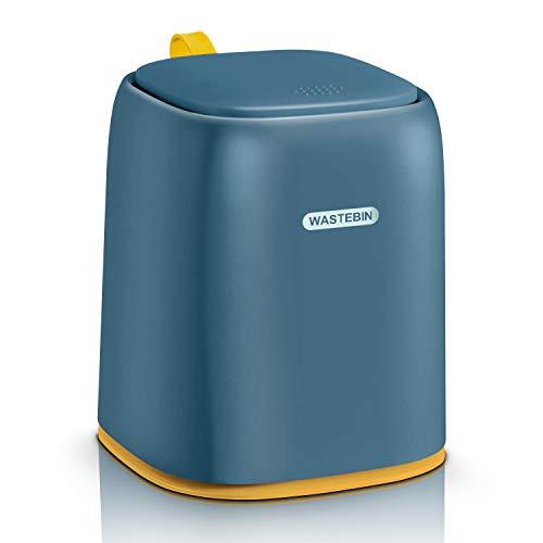 JEEZAO Cubo de Basura de Mesa con Tapa,Papelera de Escritorio sin BPA,Caja de Almacenamiento para Alimentos para Mascotas,Bocadillos,Cosméticos,Papelería (Azul Oscuro)