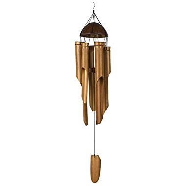 Woodstock Half Coconut Bamboo Chime- Large- Asli Arts Collection