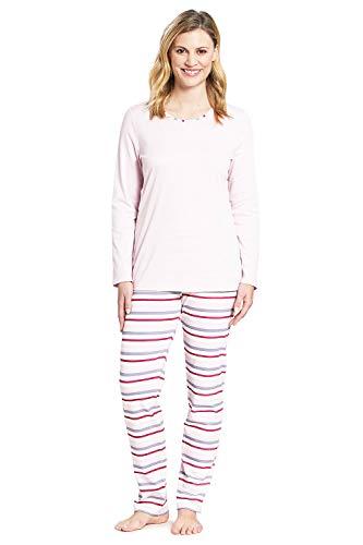 Rösch Damen Pyjama Langarm Pyjama mit Ringeldruck Lady, Smart Casual, 1193652 48 Ringlet Multicolor