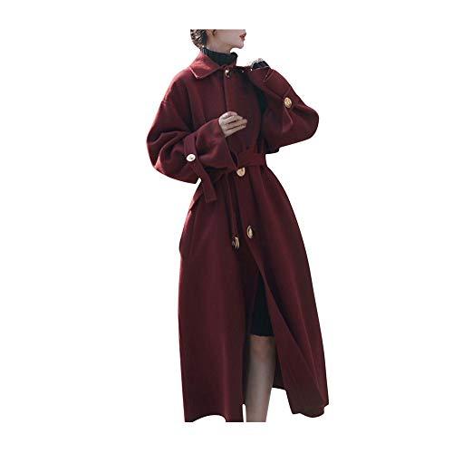 Wintermantel Damen Oversize Lang Trenchcoat Woll-Blazerkleid mit GüRtel,Kanpola Casual Elegant Wollkleid Lang Revers Cardigan