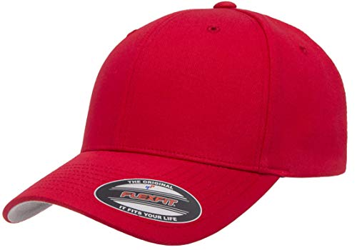 Flexfit unisex adult Cotton Twill Fitted Cap Hat, Red, Large-X-Large US