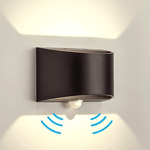 Temgin LED Apliques pared con Sensor de Movimiento Exterior Blanco Neutro Negro mate Lámpara de pared Interior Aluminio Luz Nocturna para Pasillo Escalera Garaje Salón 7W