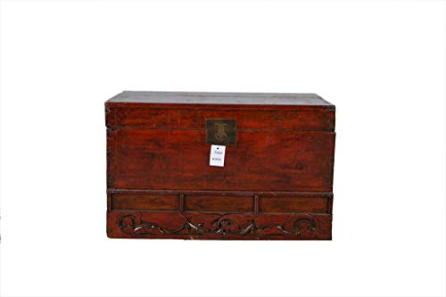 Fine Asianliving Chinesische Aufbewahrungskiste Orientalische Möbel Truhe Holztruhe Dekotisch Truhenbank Massiv Holz Groß Deckel Couchtisch Tischtruhe Sitztruhe Truhe Antik 84 x 50 x 51cm