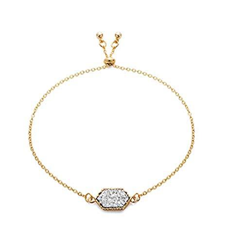 yichahu Pulsera de piedras hexagonales para mujer (oro + blanco)