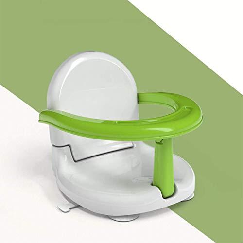 Asiento de baño para bebé, antideslizante, silla plegable, asiento de baño para bebés de 6 a 24 meses (verde)