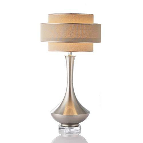 LZQBD Lámpara de Escritorio, Lámpara de Mesa Simple Post-Moderno Plateado Dormitorio Doble Cristal Decoración de Noche Lámpara de Noche