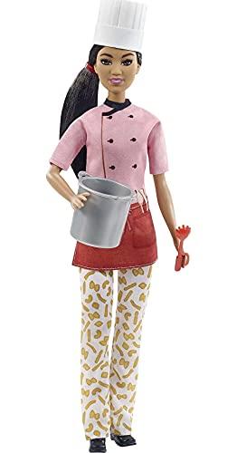 Barbie quiero ser Chef muñeca morena con accesorios para cocinar pasta para niñas + 3 años (Mattel GTW38)