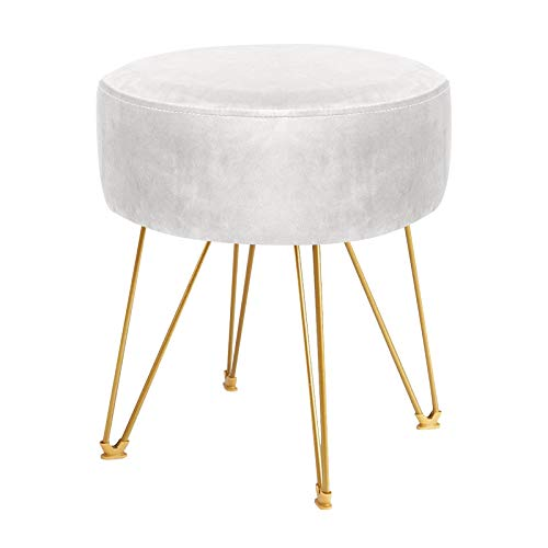 ERONE Round Footstool Ottoman Velvet Dressing Stool with Gold Metal Legs Upholstered Footrest, Makeup Chair Side Table for Kitchen Bedroom Living Room (Beige)