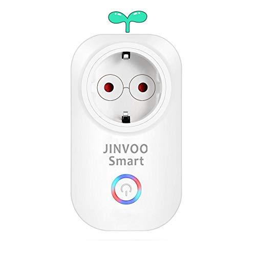 Intelligente Wi-Fi-Steckdose von Jinvoo, Timing-Funktion, kein Hub erforderlich, APP-Fernbedienung, Kompatibel mit iOS und Android, Kompatibel mit Alexa und Google Assistant (1 Pack)