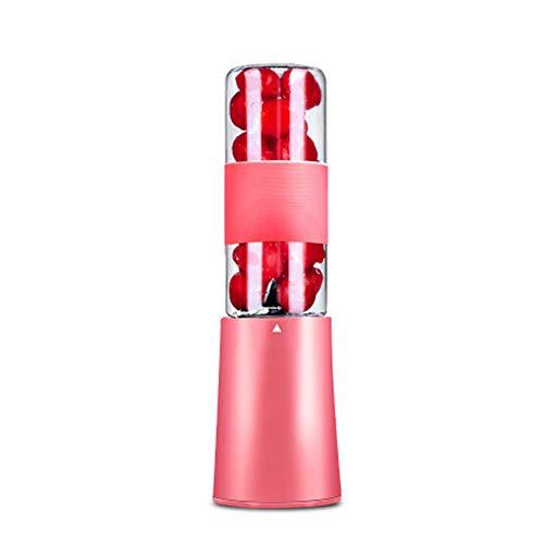 Urządzenie do smoothie, wielofunkcyjny, kompaktowy blender elektryczny z 4 ostrzami ze stali nierdzewnej, idealny butelka sportowa 250 ml do smoothie, soku, koktajli mlecznych, podróży, domu, sportu, różowy