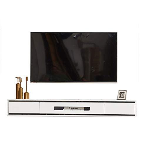 Étagère Meuble de télévision Mural Meuble TV Suspendu en Bois, Support TV Flottant 47,2/55,1/62,9 Pouces, pour décodeurs/routeurs/télécommandes/lecteurs DVD/Consoles de Jeux.