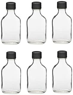 Nakpunar 6 pcs 100 ml Glass Flask Bottles with Black Tamper Evident Caps, 100 ml