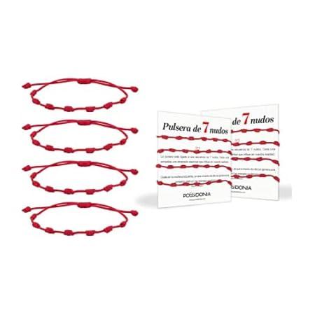Possidonia Pulsera Roja 7 Nudos | Amuleto Hilo Rojo | Pulsera de la Suerte y Protección | Unisex, Ajustable| Buena Suerte | Pulsera Amistad, Pareja| Pack 4 uds