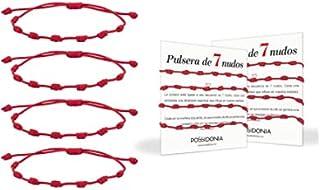 Possidonia Pulsera Roja 7 Nudos   Amuleto Hilo Rojo   Pulsera de la Suerte y Protección   Unisex, Ajustable  Buena Suerte...