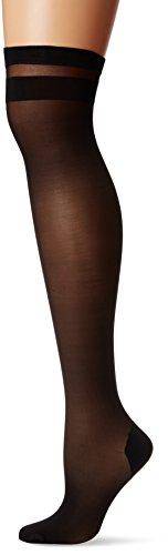 DKNY Women's Stripe Tip Thigh High, black/black, S/M