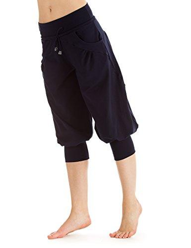 WINSHAPE Damen Fitness Sport Yoga Freizeit 3/4-Trainingshose WBE9, night-Blue, L
