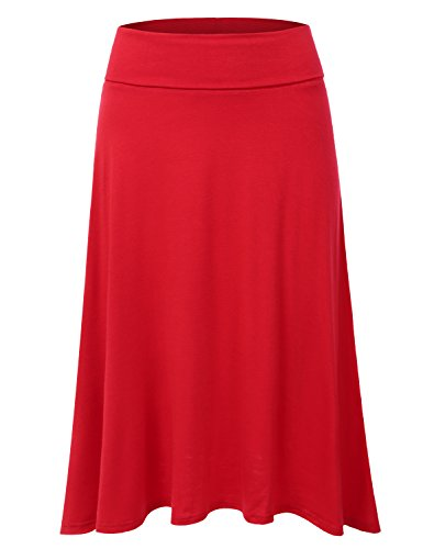 DRESSIS Women's Basic Elastic Waist Band Flared Midi Skirt RED 2XL