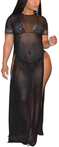 Women's Sexy Long Maxi Dresses Summer Casual See Thru Round Neck Short Sleeve Sheer Mesh Beach Cover Ups Loose Stretchy Plus Size Swimsuit Split Side with Fake Diamond