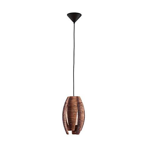 Eglo 91008 Lampe suspension Mongu Afrika-Style en acier, raphia et verre pour ampoule HV 1 x E27 max. 60 W non incluse, Marron/blanc ø 19 cm x 110 cm