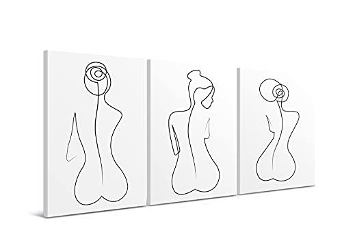 DON LETRA Silueta Femenina - Juego de 3 Cuadros para Decoración de Salón y Dormitorio, Arte Moderno, 150 x 70 x 2 cm, Lienzo 100% Poliéster con Bastidor de Madera, Blanco y Negro, LEN-043