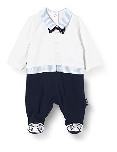 Chicco Baby-Jungen Tutina Bimbo Elegante Con Apertura Sul Patello Playsuit, Weiß (Bianco Blu 038), 74 (Herstellergröße: 074)