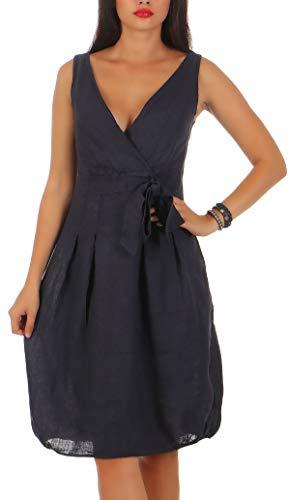 Malito Damen Leinenkleid im Klassik Design | Elegantes Cocktailkleid | schickes Abendkleid | Partykleid - A Linie 8147 (dunkelblau, XL)