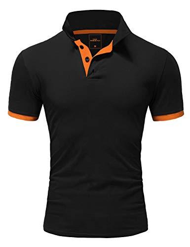 Amaci&Sons Herren Poloshirt Basic Kontrast Kragen Kurzarm Polohemd T-Shirt 5104 Schwarz/Orange M