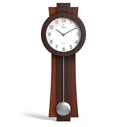 Pendulum Wall Clock Battery Operated - Quartz Wood Pendulum Clock - Silent, Modern Wooden Design, Decorative Wall Clock Pendulum for Living Room, Office, Kitchen & Home Décor Gift