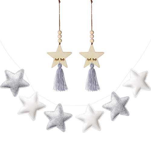 6 Banner de Adornos Colgantes de Estrellas Lindas y 2 Colgantes de Borla con Cuentas de Madera en Forma de Estrella Linda para Decoración de Habitación Cama de Niños, Adornos de Colgar en Pared