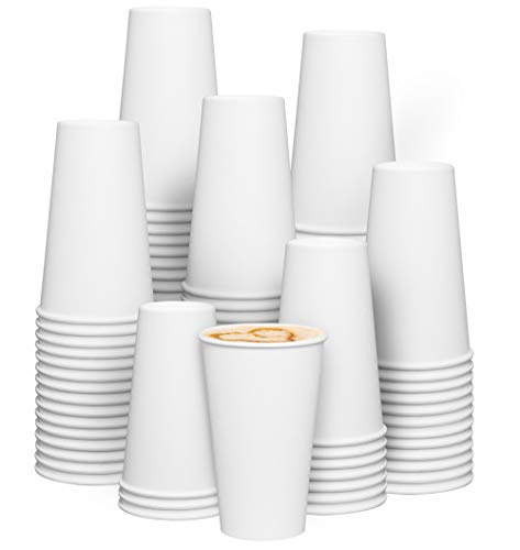 [200 Pack] 16 oz. Disposable White Paper Hot Coffee Cups