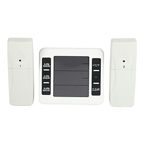 Uniquk Alarma Audible Digital Inalambrica Refrigerador Termometro con 2 Piezas Sensor Visualizacion Min/MAX Termometro Exterior Interior
