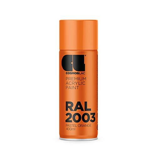 CL COSMOS LAC Sprühlack Pastell orange, glänzend - Spraydosen Sprühfarbe DIY Lack Acryllack Spray Farbspray Sprühdose Lackspray Farbe für Kunststoff, Metall, UVM. (RAL 2003 - pastellorange)