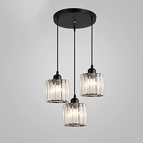 JIUFACAI Crystal E27 Lámpara Colgante Industrial Estilo Edison Portalámparas, Lámpara Colgante suspendida Lámpara de Techo Ajustable Lámpara de Techo Moderna Espiral 3 Lámpara Colgante