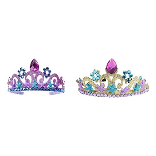 STOBOK 2 Piezas Corona de Diamantes de Imitación Diadema Princesa Tiara con Estrella Sirena Disfraz Accesorios Sirena Temática Fiesta Regalos