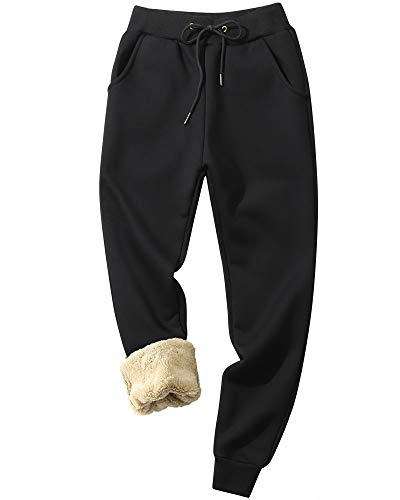 MACHLAB Women's Winter Warm Track Pants Thermal Fleece Jogger Pants Sherpa Lined Athletic Sweatpants Black#6539 XL