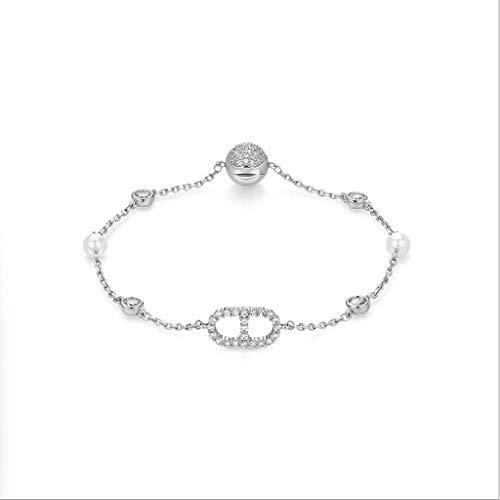 SMEJS Pulsera Pulsera estilo estático moda femenina 14K chapado en oro pulsera de perlas artificiales llena de circonio hebilla magnética pulsera de circón artificial mujer