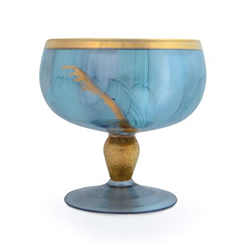 Angela nieuwe Wenen werkstaette Amira glazen schaal op voet, glas, turquoise, d 16 cm, h 15 cm